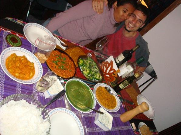 comida hindú para amigos Pablo y Mica en Uruguay