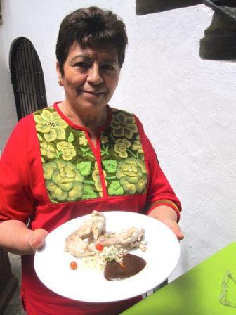 Guru Evelia in Origen restaurant, Oaxaca Mexico