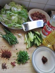 ingredientes para plato de Sichuan