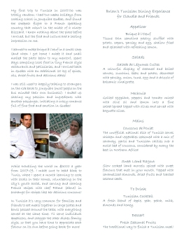 menú interior para evento de comida tunecina