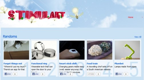 Stimulant online página principal con publicidad para artículo sobre el proyecto vía cocina