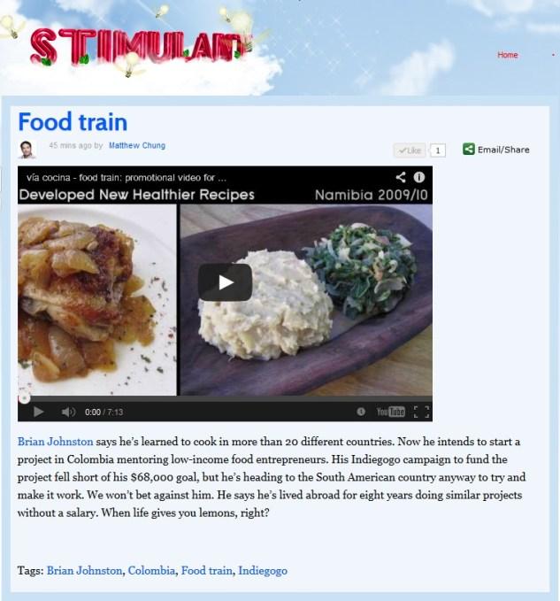 Stimulant Via Cocina Food Train artiículo publicado 07-30-2013