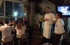 Speaking with guests in our Mozambican event